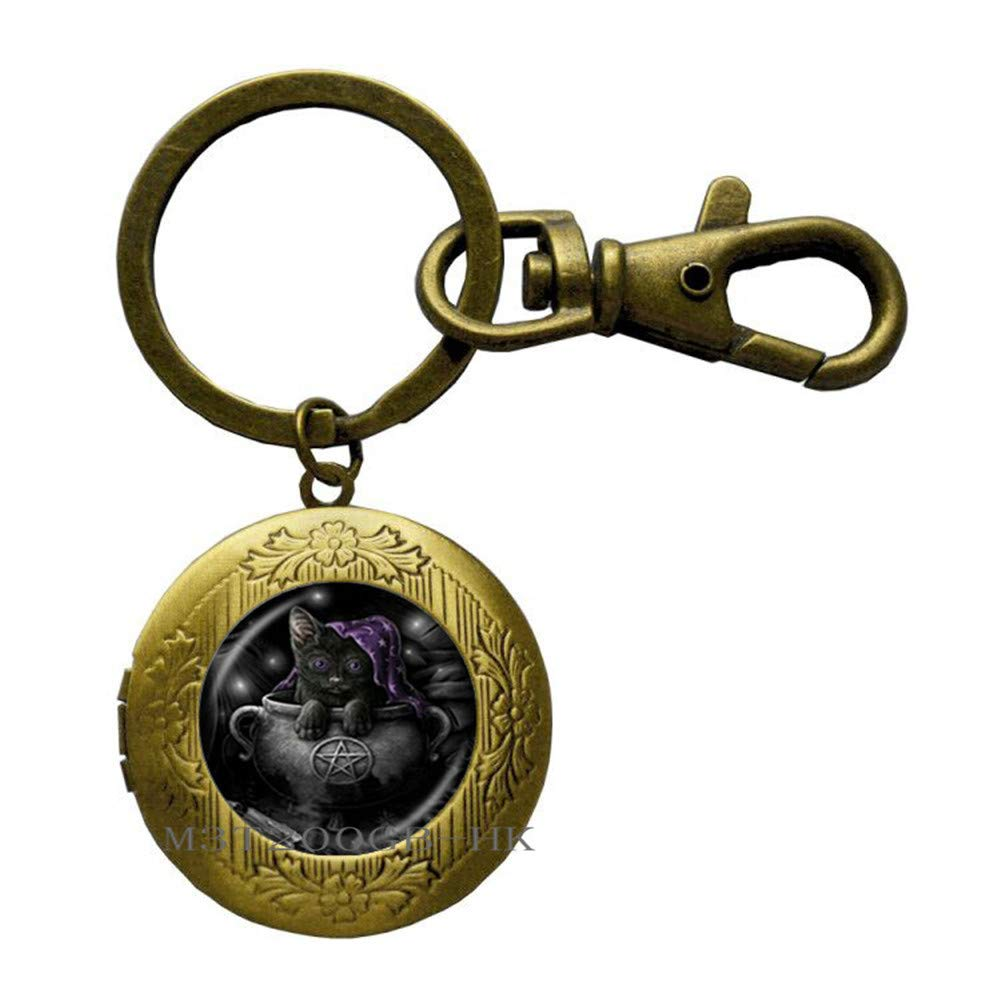 Llavero de gato Pentagram - Llavero de plata con diseño de ...