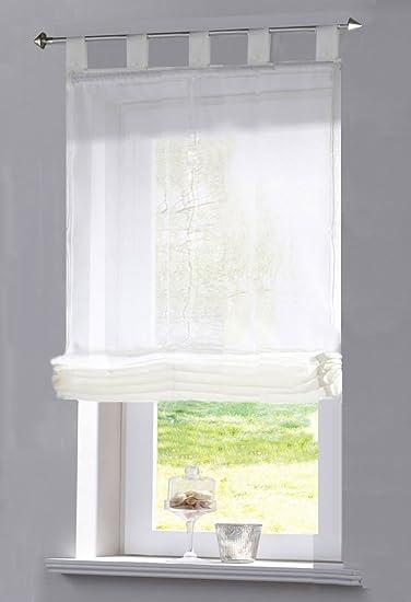 Gardinenbox Raffrollo transparent Uni aus Voile mit Schlaufen, 170X100 (HXB), Weiß