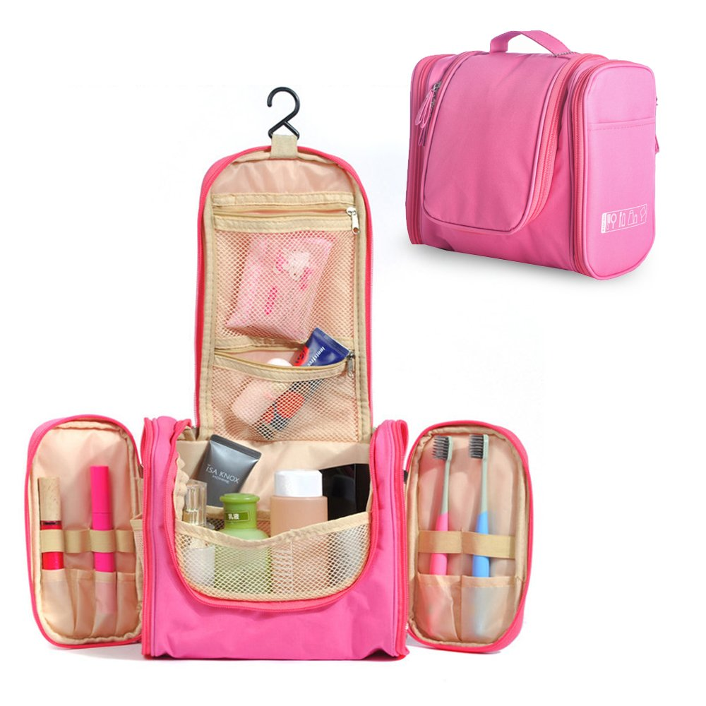 e18e7485cf Amazon.com  Pockettrip Multi-fonction Hanging Toiletry Kit Clear Travel BAG  Cosmetic Carry Case Toiletry with 1 Pc Pockettrip Luggage Tag (Pink)  Baby