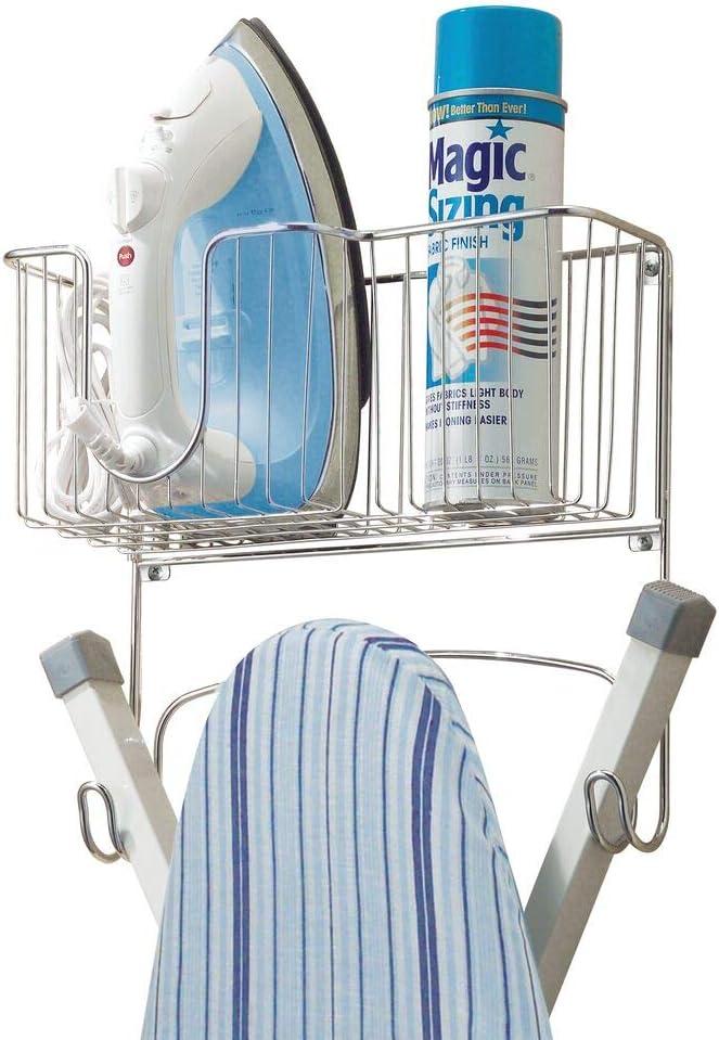 mDesign Metal Wall Mount Ironing Board Holder with Storage Basket