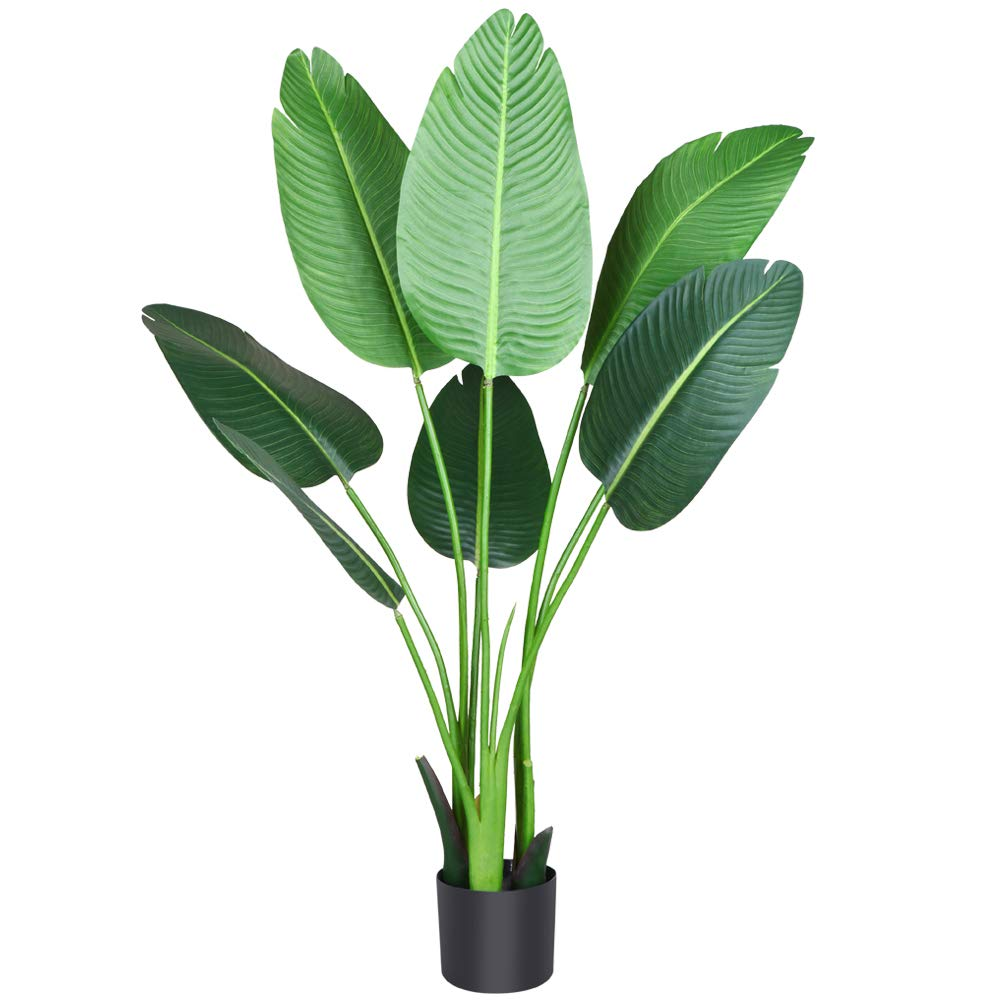 Fopamtri Artificial Bird of Paradise Plant 4 Feet Fake Palm Tree with 8 Trunks Faux Tree for Indoor Outdoor Modern Decoration Feaux Plants in Pot for Home Office Perfect Housewarming Gift