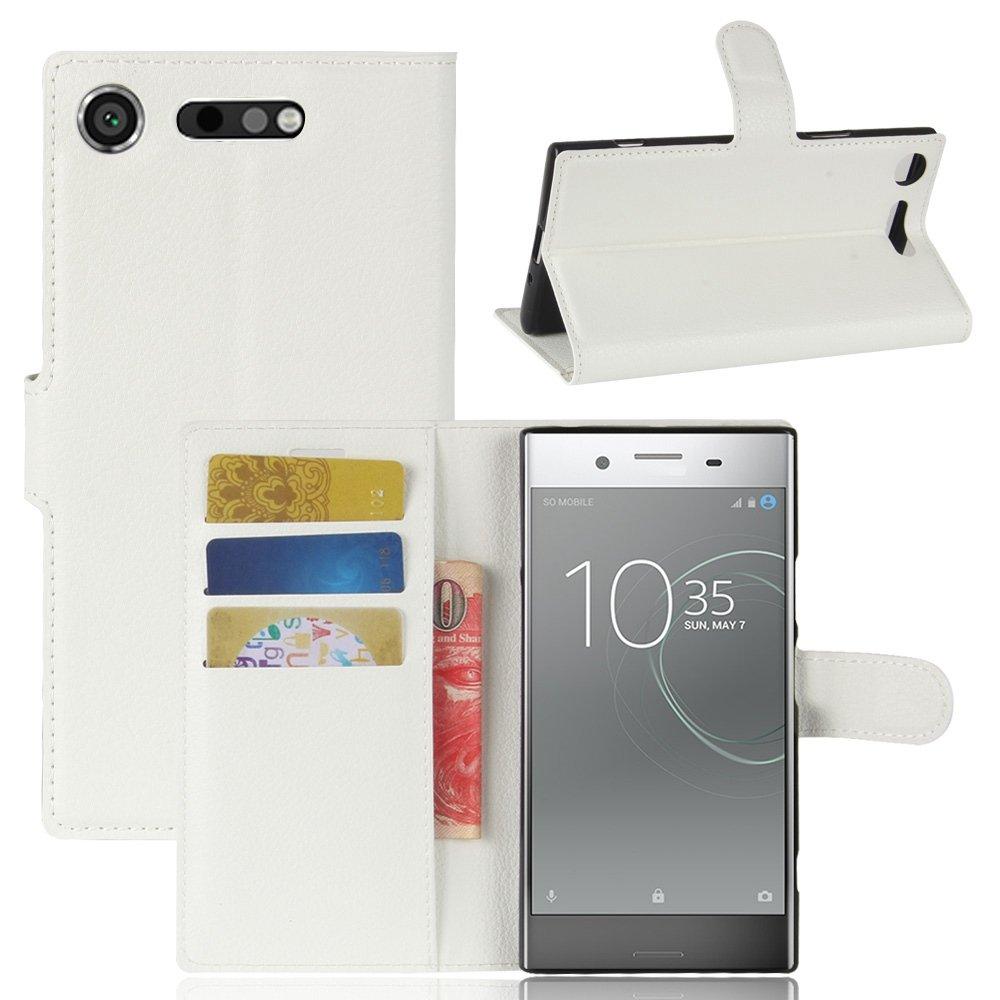 Guran® Funda de Cuero PU Para Sony Xperia XZ1 Smartphone Función de Soporte con Ranura para Tarjetas Flip Case Cover Caso-blanco