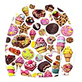 ZURIC Summer Harajuku Style Long-Sleeved 3D Shirts Donut Ice Cream Fashion (L)