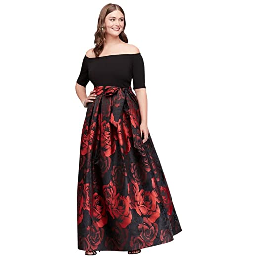 Off-The-Shoulder Jacquard Plus Size Ball Mother of Bride/Groom Gown ...