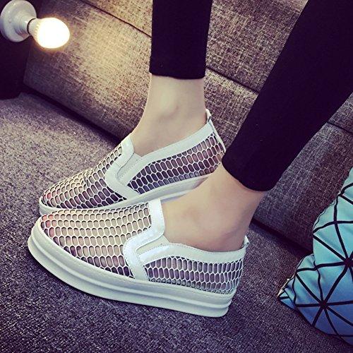 La primavera y verano cuero sandalias transpirable/ flat-bottom malla zapatos del ocio A
