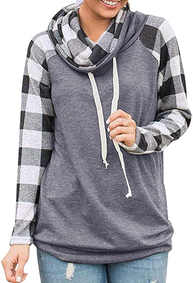 Womens Turtleneck Blouse,Plaid Long Sleeve Pullover Sweatshirt Changeshopping