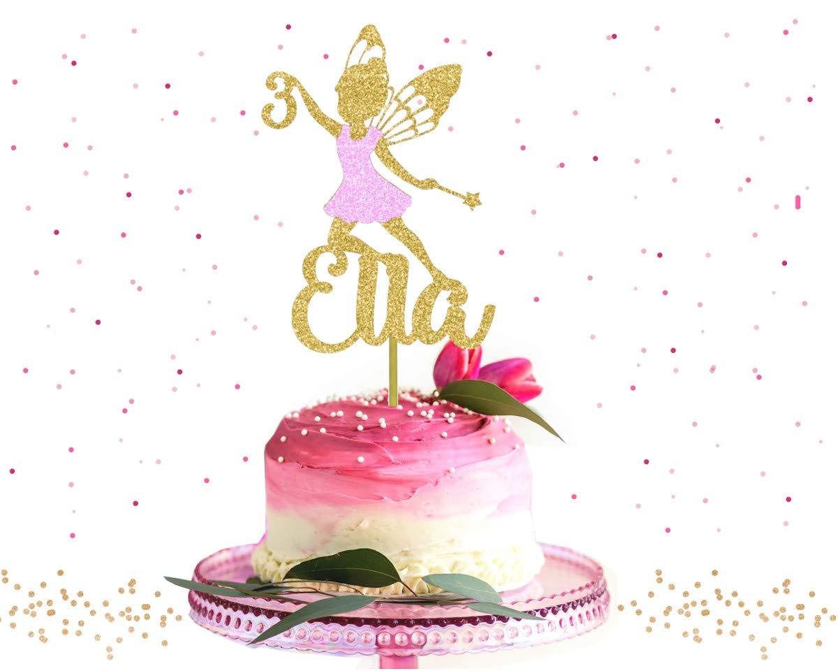 Prime Custom Gold Glitter Fairy Birthday Cake Topper Amazon Co Uk Handmade Funny Birthday Cards Online Inifodamsfinfo