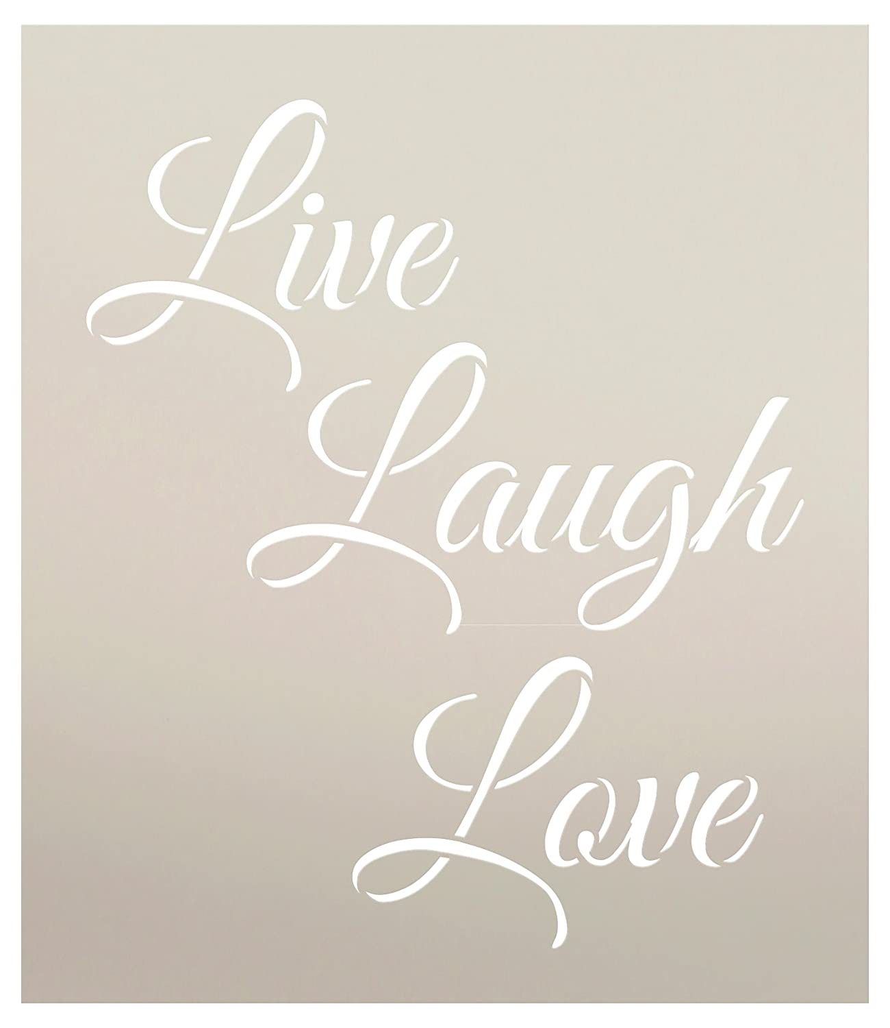Live Laugh Love Stencil by StudioR12 | Trendy Inspirational Word Art - Reusable Mylar Template | Painting, Chalk, Mixed Media | Use for Wall Art, DIY Home Decor - STCL1193 - SELECT SIZE (9.5 x 11) Studio R 12