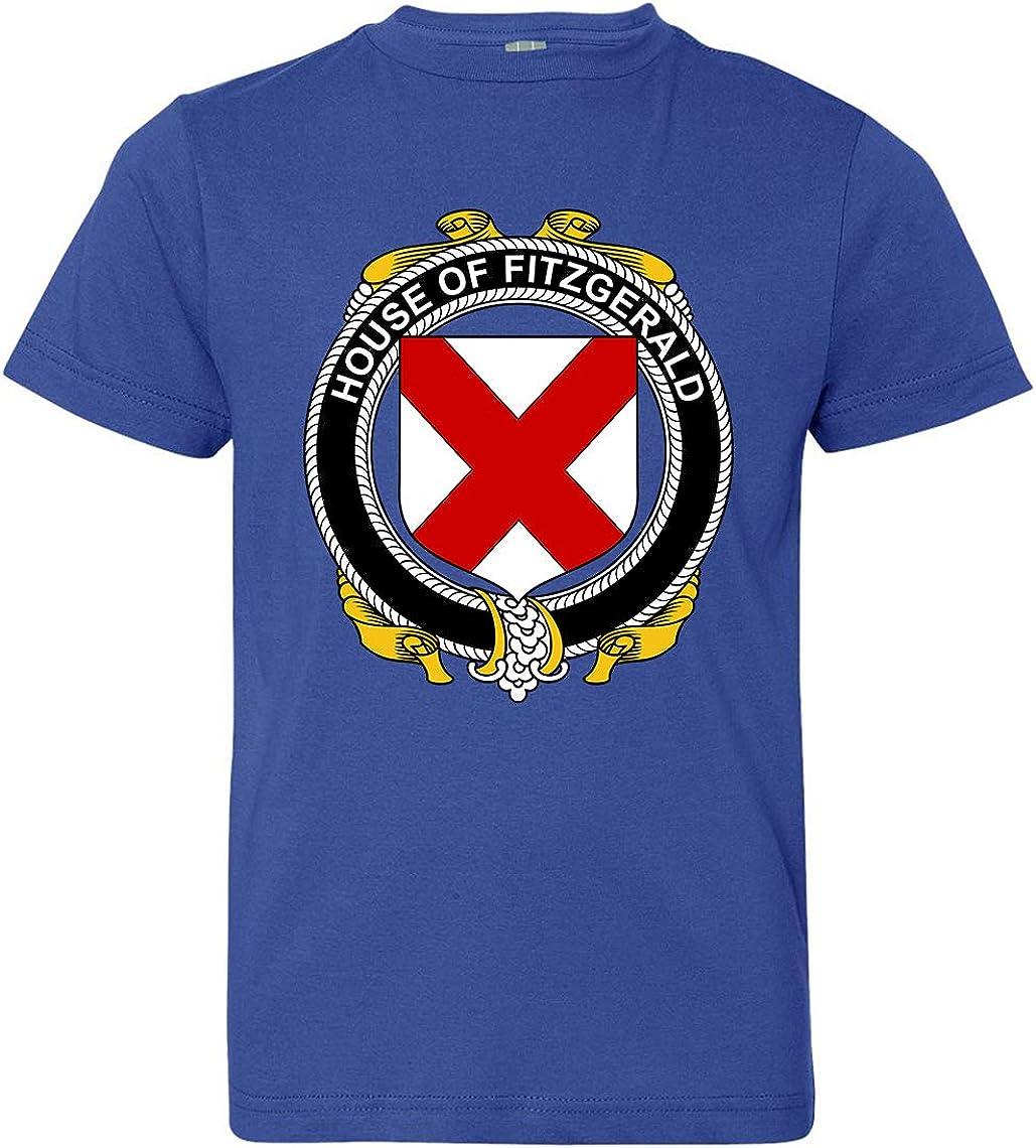 Large Tenacitee Boys Youth Irish House Heraldry Fitzgerald T-Shirt Royal Blue