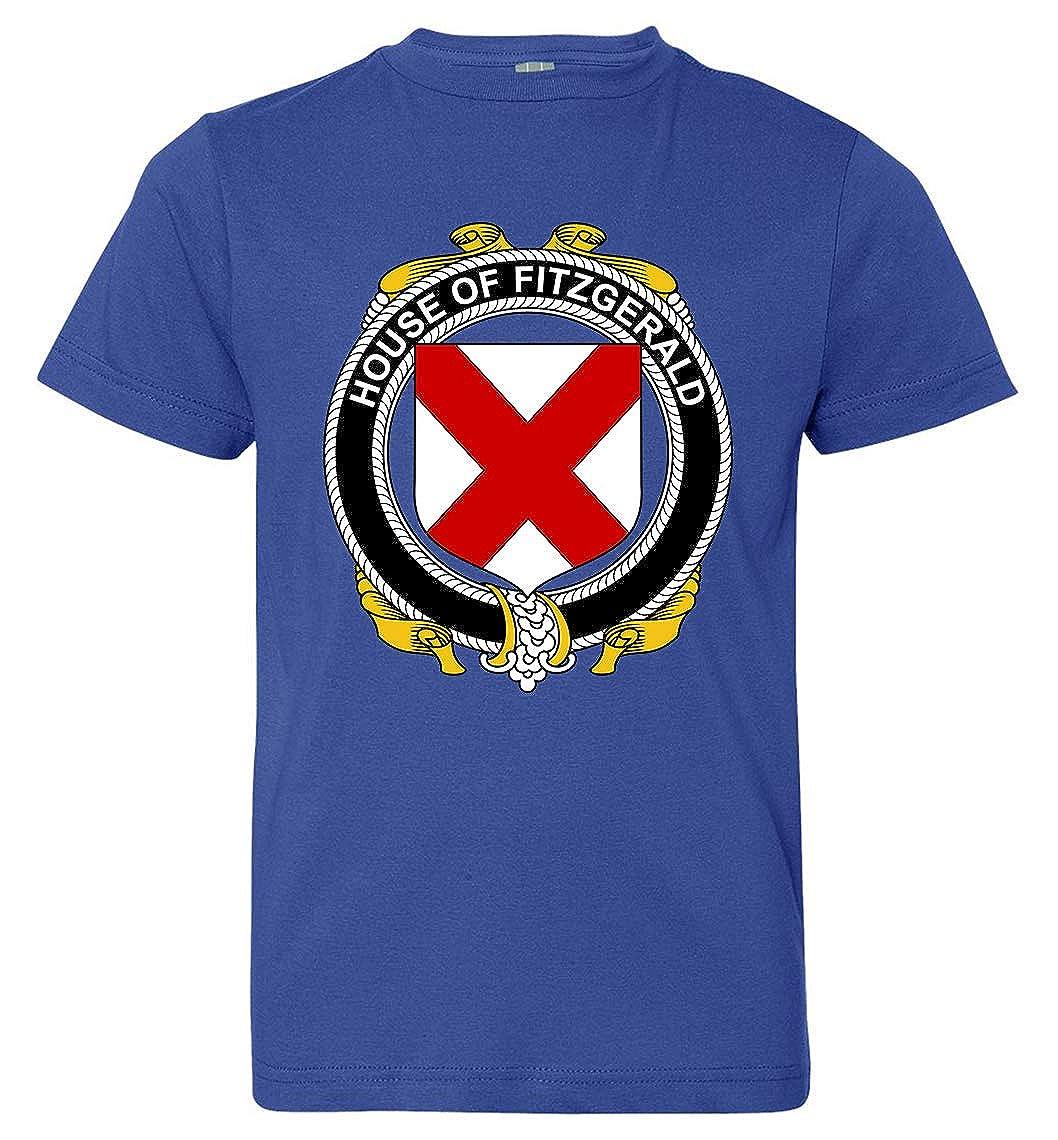 Medium Royal Blue Tenacitee Boys Youth Irish House Heraldry Fitzgerald T-Shirt