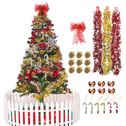 Christmas Bows Trees - 25 PCS Christmas Tree Ornaments, Christmas Bow Decoration, Christmas Tinsel Garland, Christmas Mini Bow with Bell, Christmas Mini Crutch and Christmas Pine Cones for Christmas Party Decoration