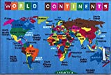 Kids Area Rug Reversible World Continent Map Learning Carpet Game Room Design 7 (4 Feet X 5 Feet 9 Inch )