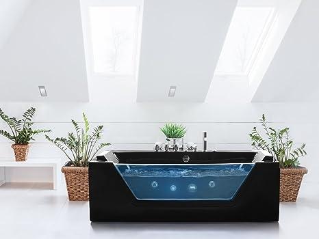 Vasca Da Bagno Occasione : Beliani vasca da bagno rettangolare in acrilico nero con