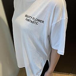 Amazon ルル フェルテ プリントtシャツ オーバーサイズ Tシャツ バックロゴ ロゴ入り 綿100 コットン ユッタリ ビッグt カジュアル ワイド 大きいサイズ ゆるカジ ベーシック コットンt 体型カバー 五分袖 メンズライク 大きめ ドルマンスリーブ レタープリント 半袖