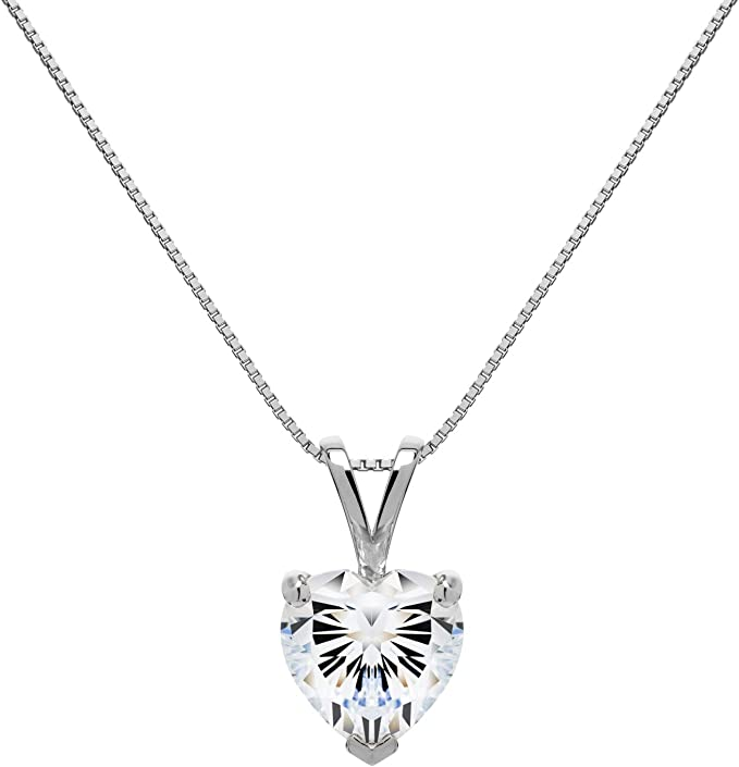 Round Cut Cubic Zirconia Solitaire With Gift Box 16 Inch .60mm Box Link Chain 14K Solid Yellow Gold Pendant Necklace 1.5 Carat