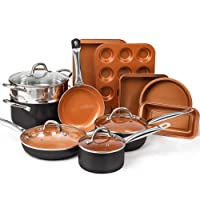 Deals on Shineuri 10-Pcs Copper Nonstick Cookware and 5-Pcs Bakeware Set