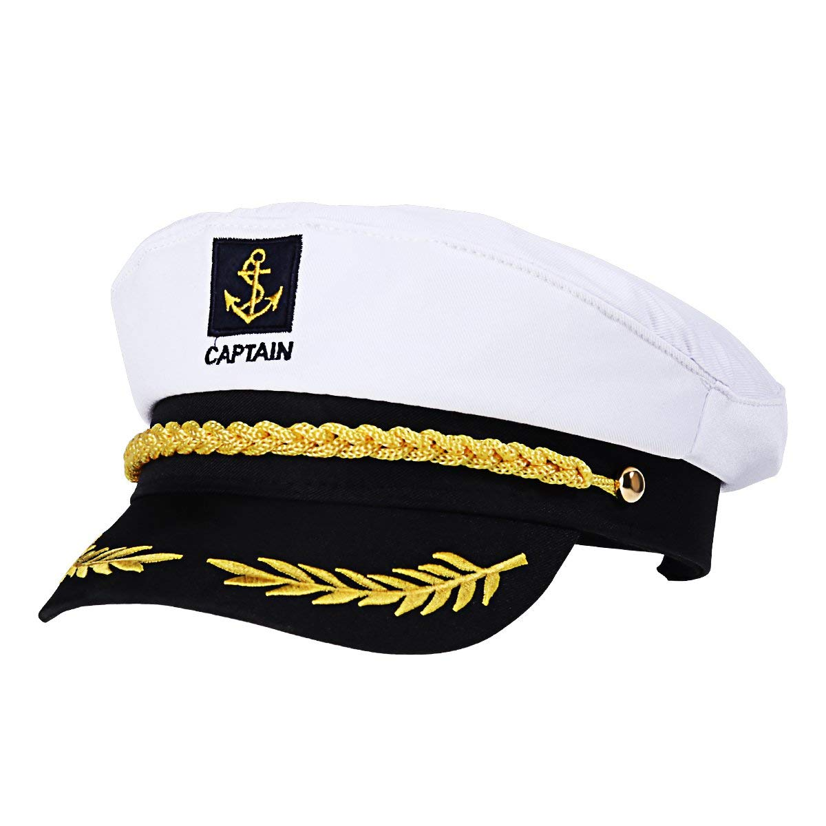 JOCAM Sailor Captain Hat Cap Yacht Party Hats Navy Marine Adult Admiral Sailor Costume Accessories White