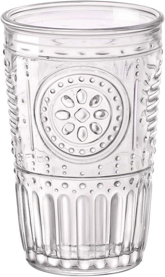 Bormioli Rocco Romantic Water Glass [Set Of 4] | 10.25 oz Premium Glass Set For Refreshments