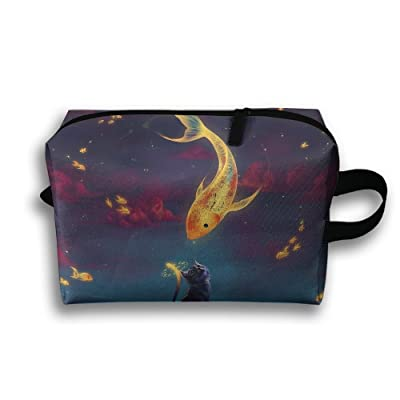 Unisex Outwork Sports Bag Toiletry Bag Art Fantasy Goldfish Kitten Wash Bag Makeup Storage Bag Toiletry Organizer Pencil Case Handbag Coin Purse