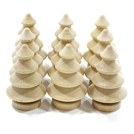 Tinksky 10pcs Blank Diy Wooden Christmas Tree Peg Dolls Party Cake Toppers Christmas Decoration