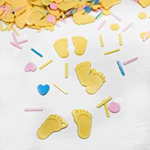 Baby Shower Confetti Party Table Decoration Footprint Confetti Table Scatter Decor Sprinkles or DIY for Wedding Birthday Bday Engagement Bachelorette Party Supplies 1.5OZ(Footprint Gold)