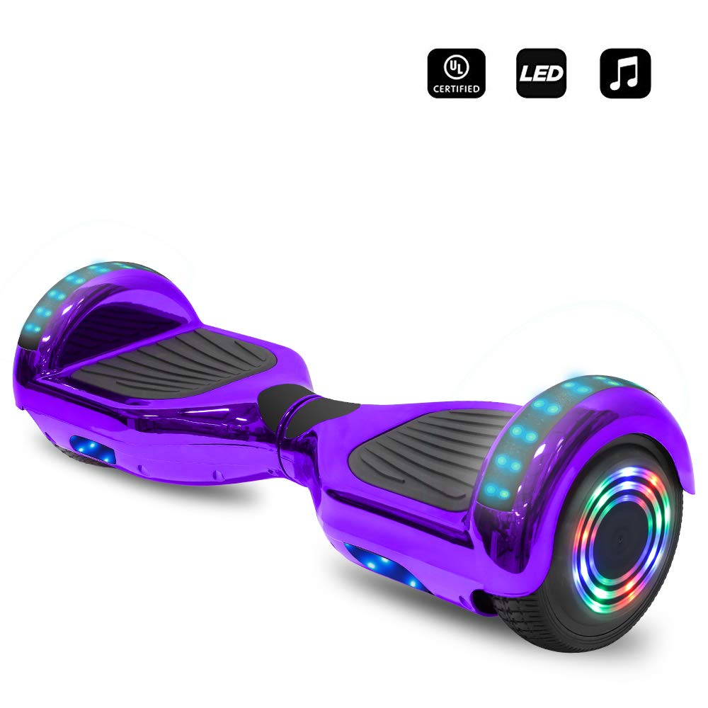 cho 6.5'' inch Wheels Electric Smart Self Balancing Scooter Hoverboard with Speaker LED Light - UL2272 Certified (Chrome Purple) by cho