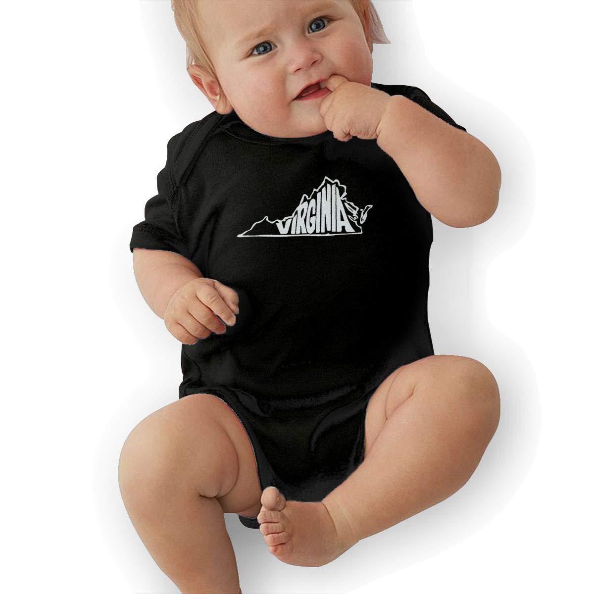 Manlee Virginia State Newborn Infant Toddler Baby Girls Boys Bodysuit Short Sleeve 0-24 MonthsBlack
