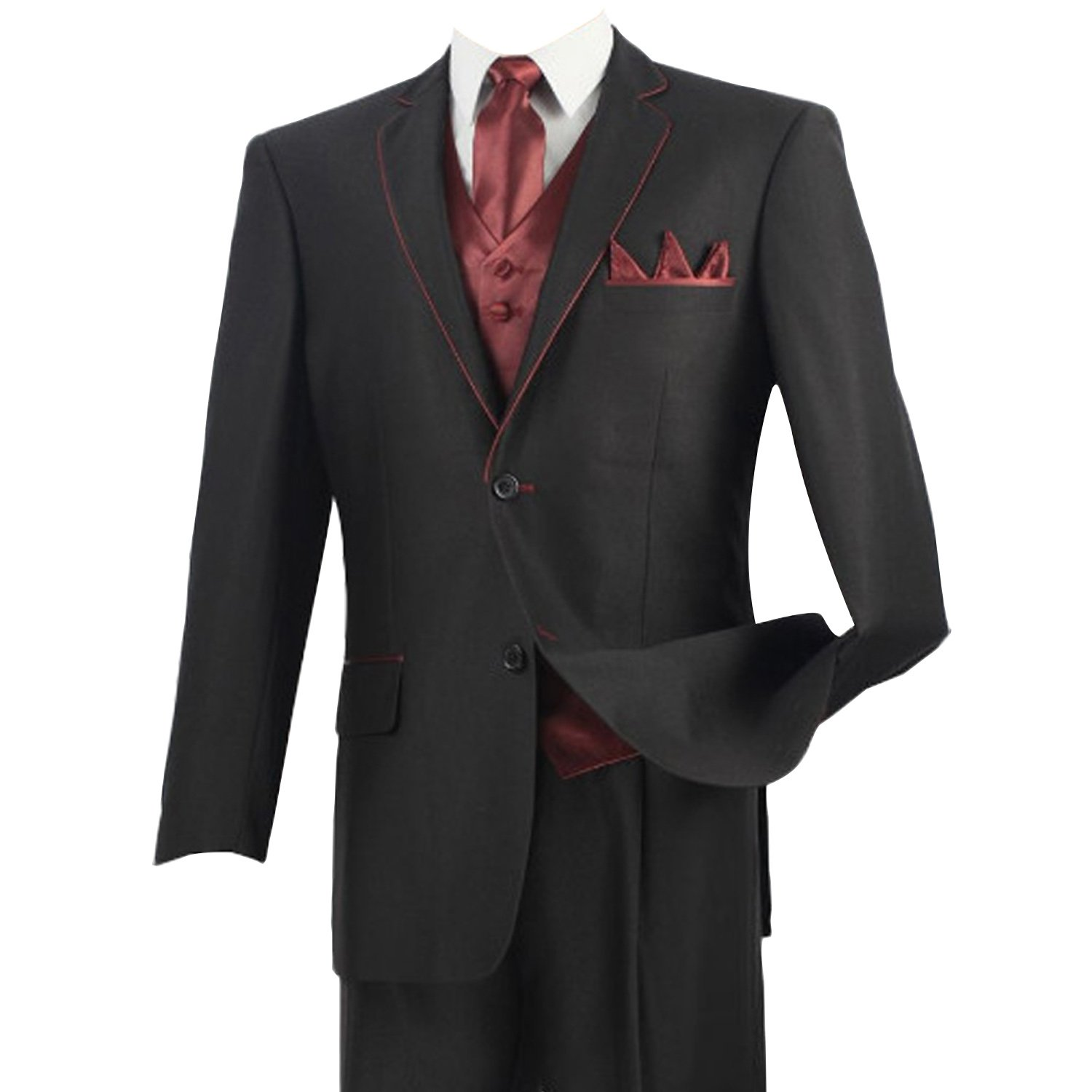 HBDesign Mens 3 Piece 2 Button Peak Lapel Red Line Edge Suits HMS5076BK