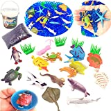 Guaishou Blue Water Beads Ocean Pack for Kids Toys 20pcs Sea Animal Creatures Model 1pcs Bouncing balls With Plastic Buckets