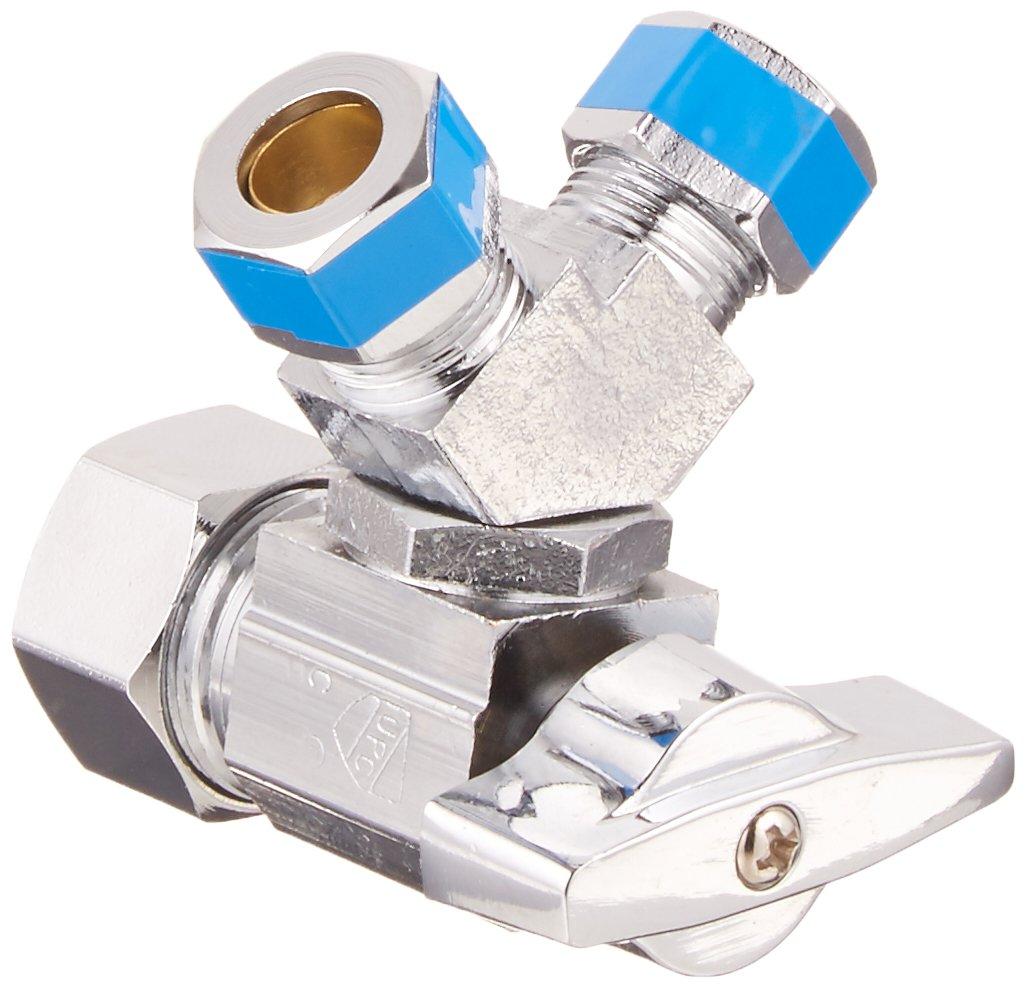LASCO 06-9355 Quarter Turn 3-Way Valve, 5/8-Inch Compression Inlet X 3/8-Inch Compression Outlet X 3/8-Inch Compression Outlet, Chrome