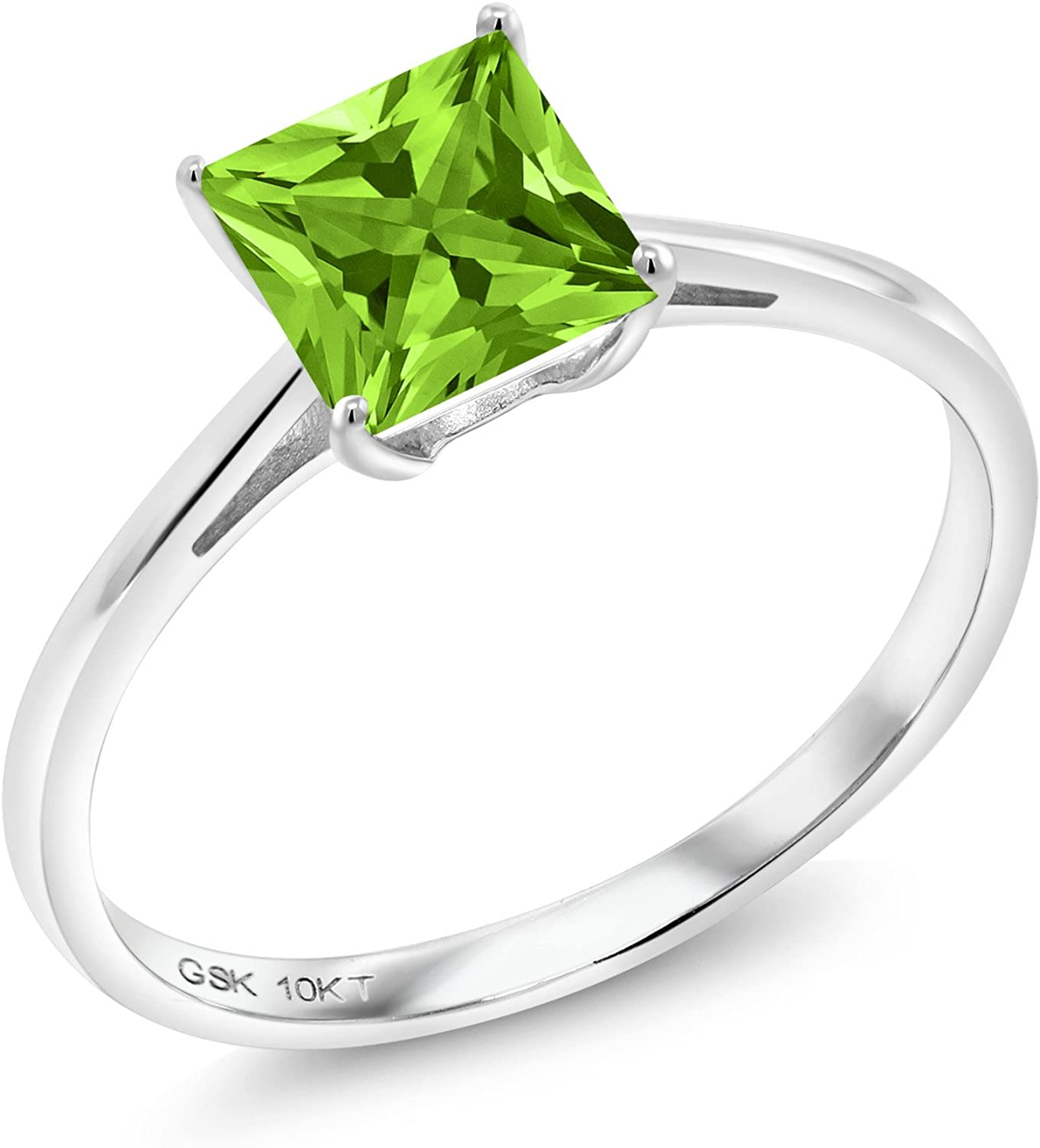 Gem Stone King 10K White Gold Green Peridot Women's Engagement Ring (1.03 Ct Princess Cut, Gemstone Birthstone, Available in size 5, 6, 7, 8, 9)