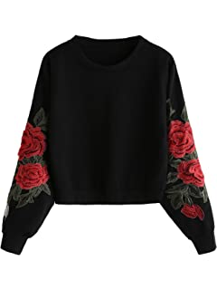 41af05214296ea Romwe Women's Casual 3D Embroidered Crew Neck Pullover Crop Top Sweatshirt