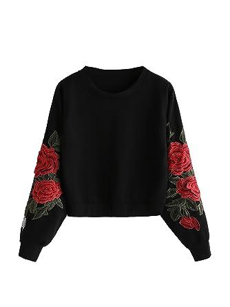 seriöse Seite begrenzte garantie Geschicktes Design ROMWE Damen Sweatshirt mit Rose Applikation Herbst Winter Shirt Pullover
