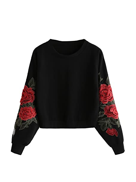 ROMWE Women's Casual 3D Embroidered Crew Neck Pullover Crop Top Sweatshirt  Black ...