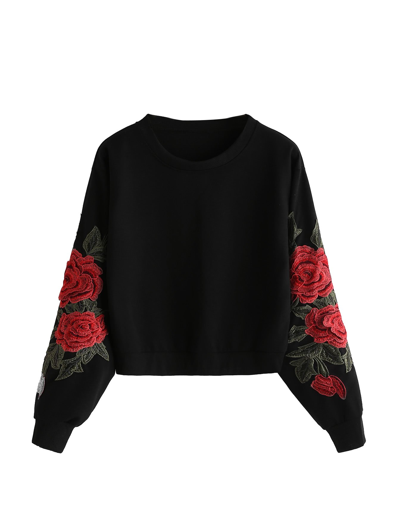 2f94161cae3 Romwe Women's Casual 3D Embroidered Crew Neck Pullover Crop Top Sweatshirt