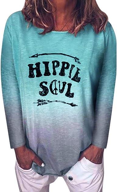 Camisas de Mujeres Casual Gradient Color Hippie Soul Camisa de Mujer de Manga Larga con Estampado de Letras Camiseta de Manga Larga Túnica Blusa Tops Cuello Redondo Camisa de poliéster LiNaoNa: Amazon.es: