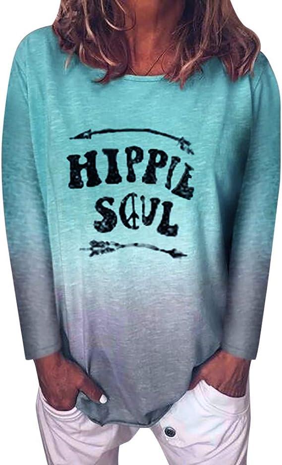 Camisas de Mujeres Casual Gradient Color Hippie Soul ...