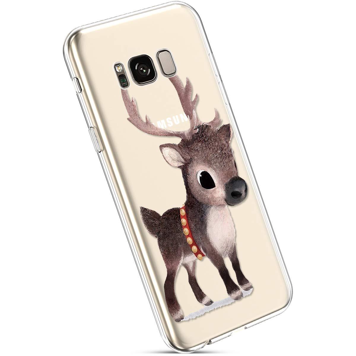 YSIMEE Custodia Samsung Galaxy S8 Plus, Xmas Decorazioni Natalizie Custodie Gel Trasparente Silicone Morbida Ultra Sottile Chiaro TPU Antiurto Gomma Cover per Samsung S8 Plus-Cervi delle nevi 559