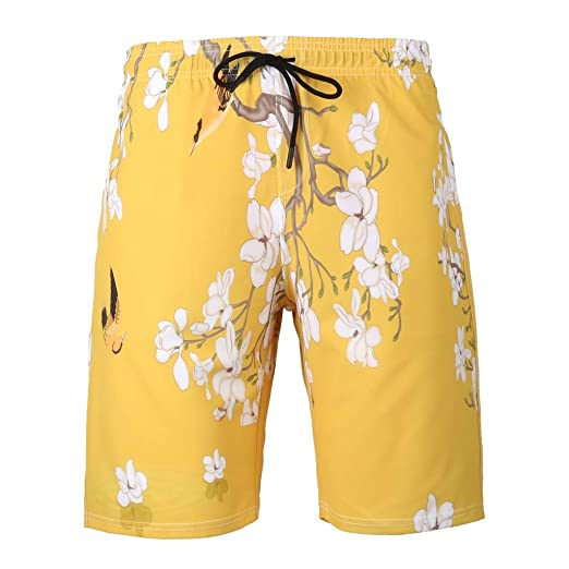 379c945ef5 NUWFOR Men's Summer Fashion 3D Printed Shorts Recreational Sports Beach  Pants(Yellow,US XS
