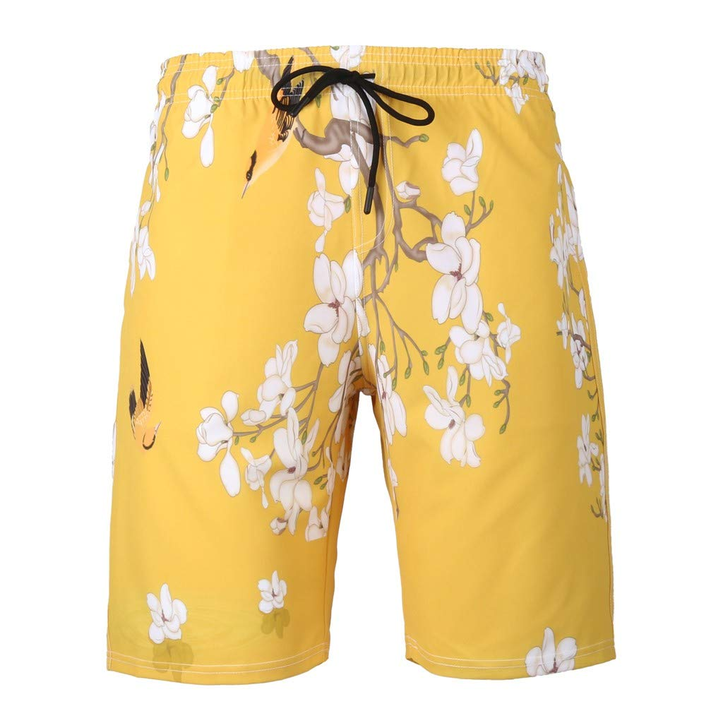 NUWFOR Men's Summer Fashion 3D Printed Shorts Recreational Sports Beach Pants(Yellow,US M Waist:34.25'') by NUWFOR (Image #5)