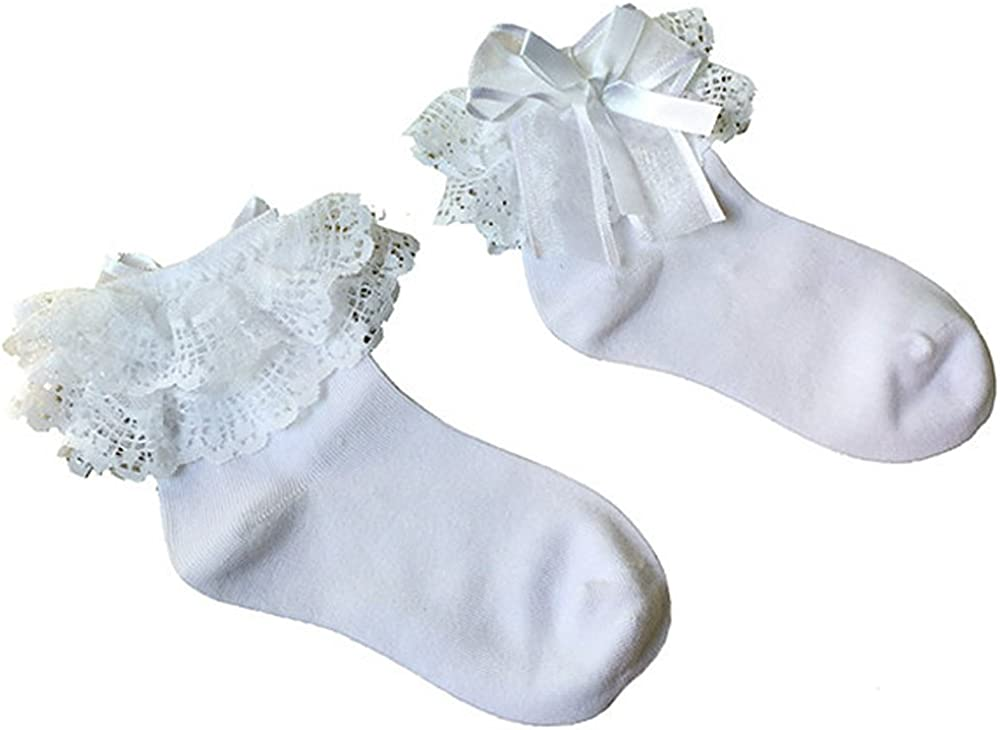 Bluelans/® Baby//Girls White Soft Lace Ruffle Frilly Ankle Socks Fashion Princess Girl Gift