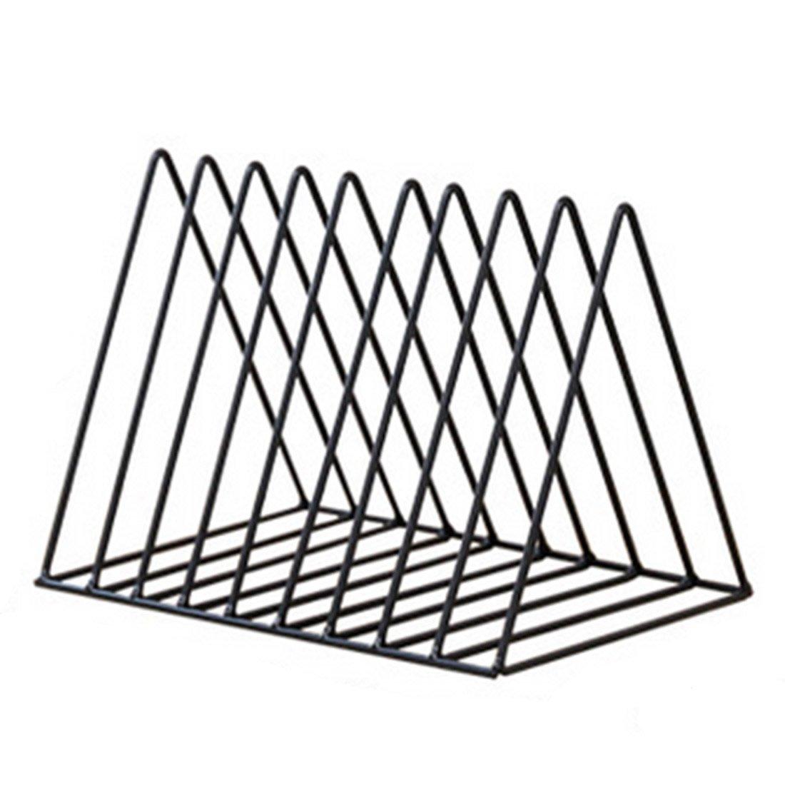 XSHION Bookshelf Triangle Simple Iron Art Desktop Storage Rack Magazine Organizer Book Holder (Black)