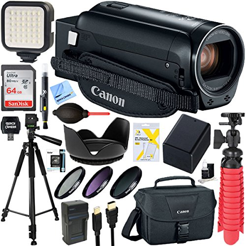 Canon VIXIA HF R82 Camcorder 3.8MP Full HD CMOS, 57x Advanced Zoom (Black) + 64GB SDXC Memory Card & Accessory Bundle by Beach Camera