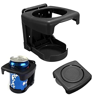 Yosoo Car Vehicle Truck Hard Plastic Folding Beverage Drink Bottle Can Cup Holder Stand Mount (Black): Automotive