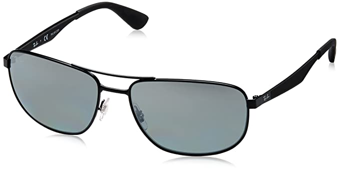 Ray-Ban Gafas de sol metal en espejo plata negro mate polarizado RB3528 006/82 61