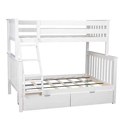Max Lily Solid Wood Twin Over Full Bunk Bed With Under Bed Storage Drawers White