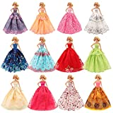 Barwa 5 Pcs Handmade Fashion Wedding Party Gown Dresses & Clothes for Barbie Doll Xmas Gift