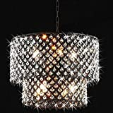 Cheap LightInTheBox Modern Two Tiers Chandeliers with 8 Lights Pendant Light with Crystal Drops in Round, Ceiling Light Fixture for Dining Room, Bedroom, Living Room