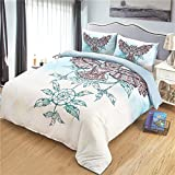NOMSOCR 3 Pieces Duvet Cover Set, Owl Pattern 1 Duvet Cover 2 Pillowcase Super Soft Breathable Hypoallergenic Lightweight Durable Bedding with Zipper Ties (Owl, King)
