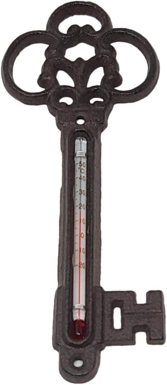 Esschert design Cast Iron Garden indoor Outdoor Greenhouse Metal Key Thermometer